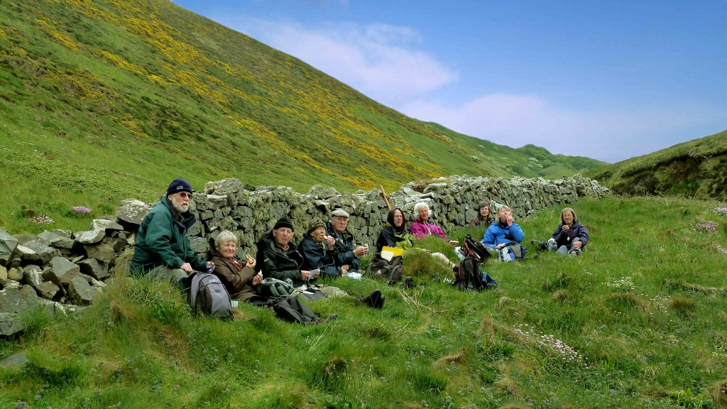 Members of the Botanical Cornwall Group enjoying lunch at Morwenstow, North Cornwall, 1st May 2011